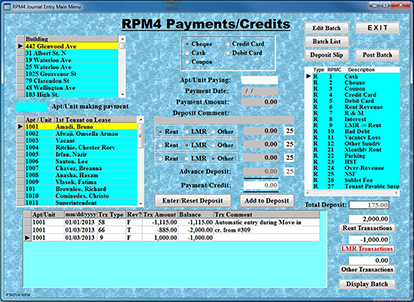 Residential Property Payment/Credit Journal Transaction Display