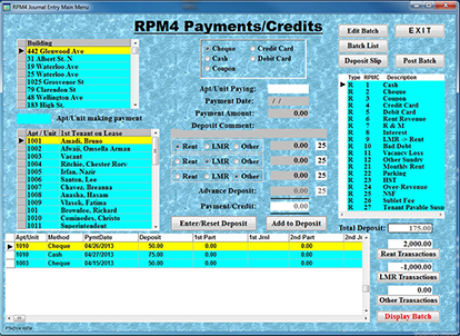 Residential Property Payment/Credit Batch Entry