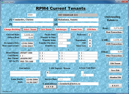 Residential Property Current Tenant Data Display